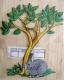 Bügelbild -Baum mit Hase und Vorgel-